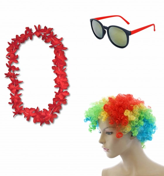 """Party SET """"Carneval"""" Hawaiian Chain Short Hair Wig Sunglasses Costume Party"""