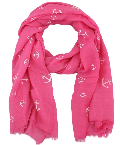 "Scarf Long ""Anchor"" Maritime High Print Fringes Summer"