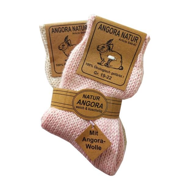 2 Paar Kinder Angorasocken Schafwolle Ökologisch gefärbt Geburtsgeschenk rosa blau
