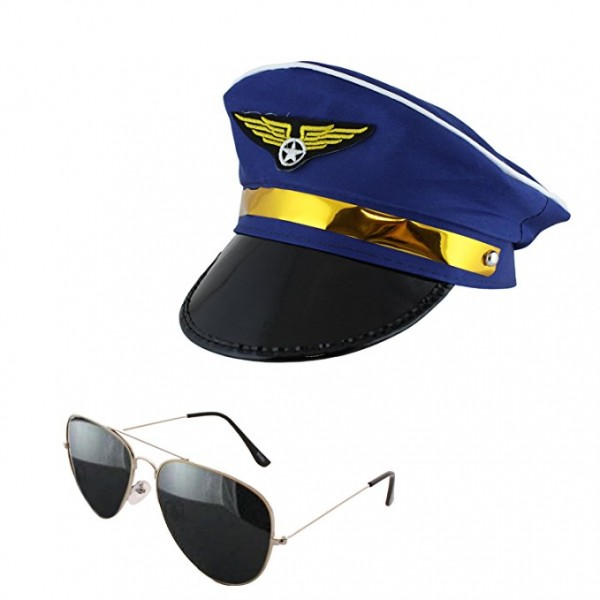 "SET ""Pilote"" Sunglasses and Hat Steward Costume Carneval"
