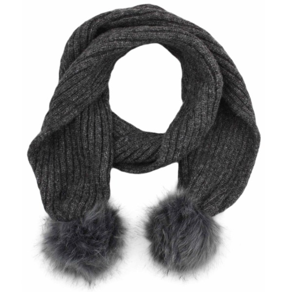 Scarf Faux Fur Bobble Wool Polyacrylic Winter Melange