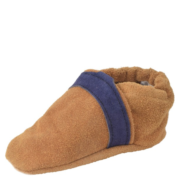 """Baby Indoor Slipper """"Jingle Bell"""" striped Real Leather Stripe"""