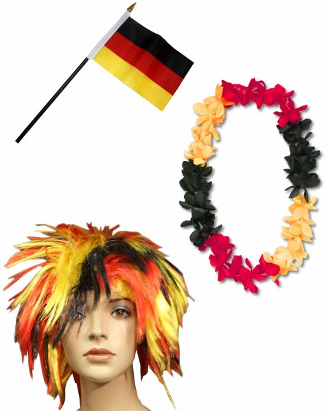 Fan Package Worldcup Football Wig Hawaiian Chain Flag Party SET-4-Wuschel