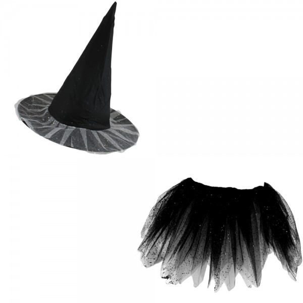 "SET ""Witch Chain and Skirt"" Hula Fringes Flower Carneval"