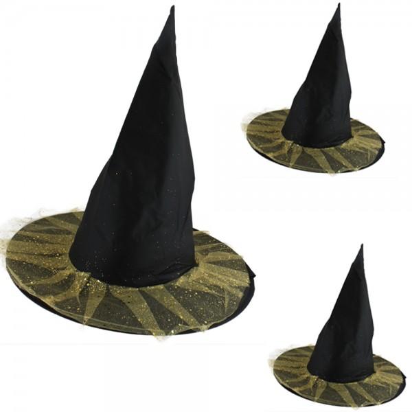 "3er SET ""Hexen Hut"" Glitzer Kopfbedeckung Karneval Halloween"