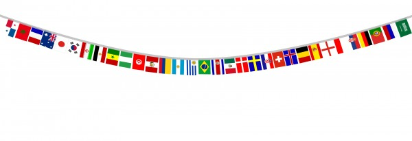 "Flag Garland ""Worldcup"" 32 Countries Fan Football 8,5 Meter"