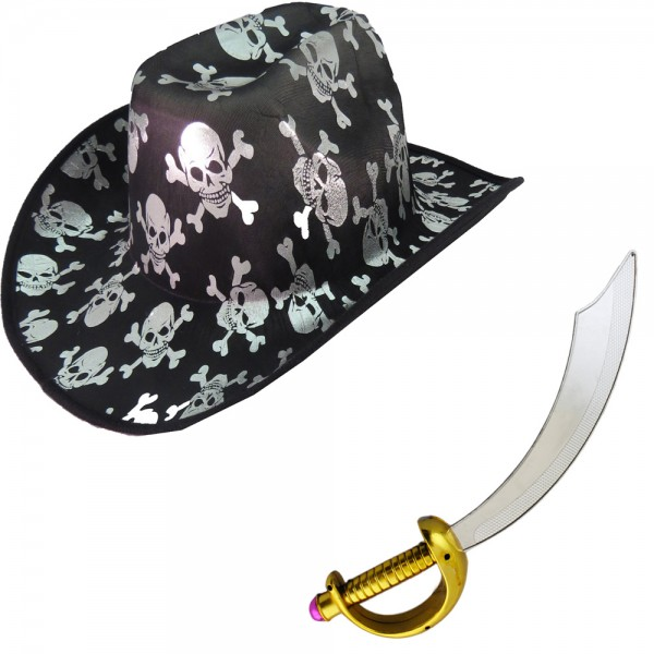 "SET ""Pirate"" Sword and Cowboy Hat Skull Costume Carneval"