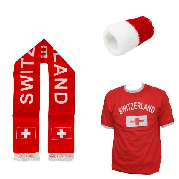 "Fan-Paket-7 ""Schweiz"" WM Fußball Fan Shirt Schal Schweißband Party"