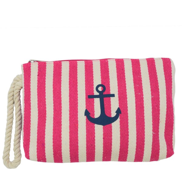 "Clutch ""Maritime"" Beautybag Make-Up Bag Stripes Anchor"