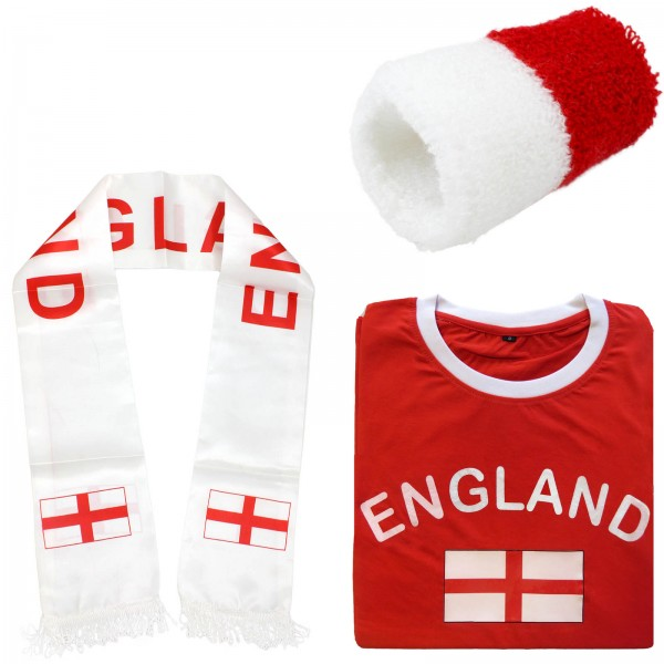 "Fan-Paket-7 ""England"" WM Fußball Fan Shirt Schal Schweißband Party"