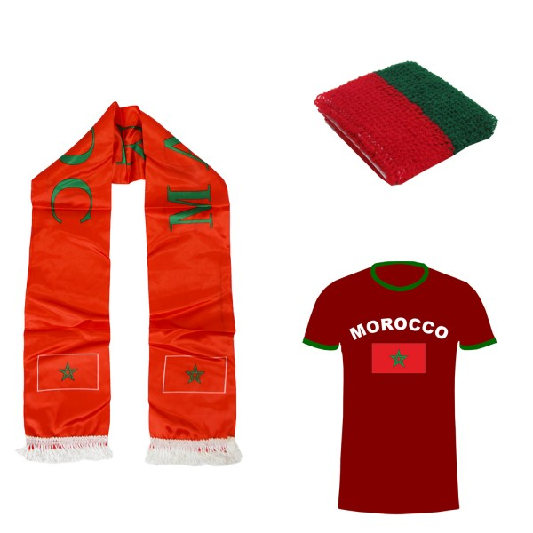 "Fan Package ""Marocco"" Worldcup Football Scarf Shirt Sweatband SET-7"
