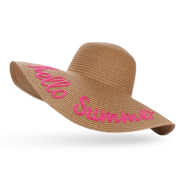 "XXL Straw Hat ""Hello Summer"" Ladies Summer Hat Headgear Beach"