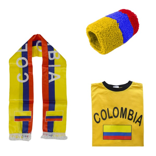 "Fan Package ""Columbia"" Worldcup Football Scarf Shirt Sweatband SET-7"
