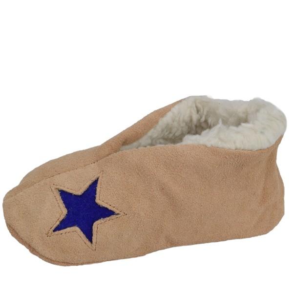 "Kids Genuine Leather Indoor Slipper ""Basic Star"" Teddy Fur Lining"