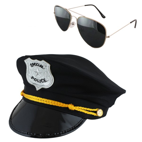 "SET ""Police Officer"" Hat Handcuffs Sunglasses Costume Stag Party"
