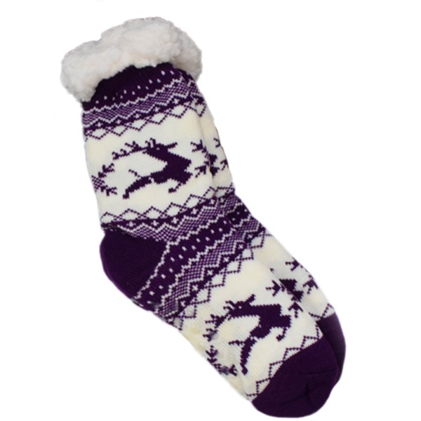 "1 Paar Kuschel Socken ""Rentier"" Teddyfell Anti Rutsch"