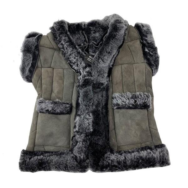 Children's Vest Natural Fur Leather Patchwork Kids Jacket Handmade