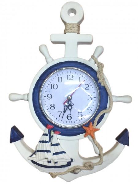 Seemannsuhr Küste Steurrad Uhr Schiffsuhr Anker Maritim