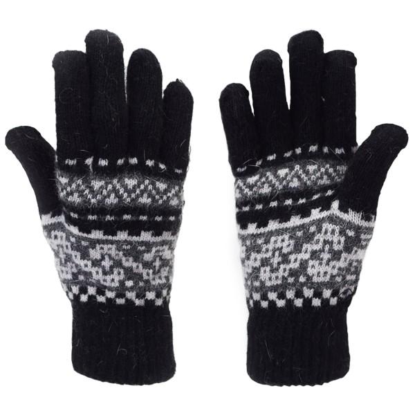 Handschuhe Norweger Muster Finger Strickmuster Angorawolle Schwarz