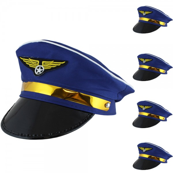"5 Pieces Hat ""Pilot"" Steward Airplane Costume Carneval"