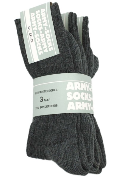 """3 Paar Wollsocken """"Army Look"""" Wolle Strümpfe Grau Unisex"""