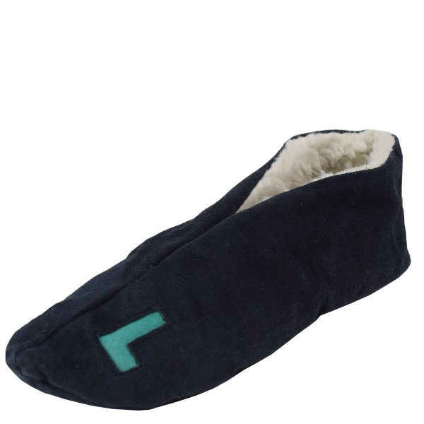 "Genuine Leather Indoor Slipper ""Basic Left Right"" Teddy Fur Lining"