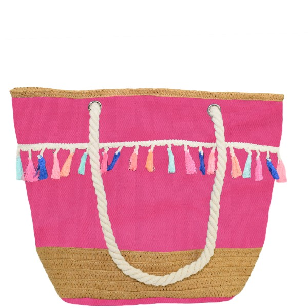 "Beach Bag Shopper ""Sophie"" Bobbles Fringes Rope Neon"