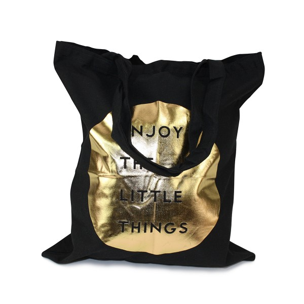 "Tragetasche goldener Druck ""Enjoy the little things"" Jutebeutel Baumwolle"