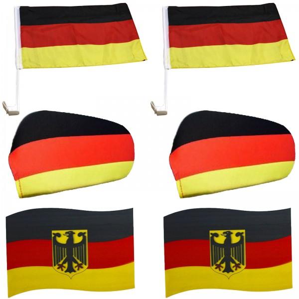 """Fan-Paket-6 """"Auto"""" WM Länder Fußball Flaggen 3D Magnet Außenspiegel"""