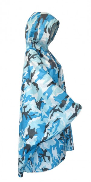 "Regenponcho ""Camouflage"" Regencape Schutz Blau"