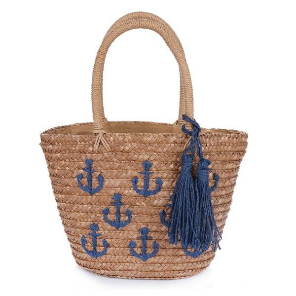 "XS Basket Bag ""Mini Anchor"" Embroidery Tassel Shopper Summer"