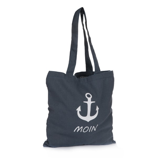 "Jute Bag ""Moin"" Carrying Maritime Anchor Print"