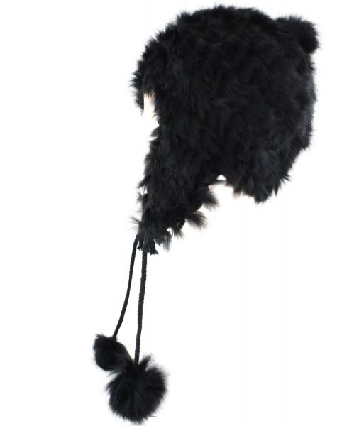 Winter Hat Rabbit Real Fur Soft Bobbles Hat