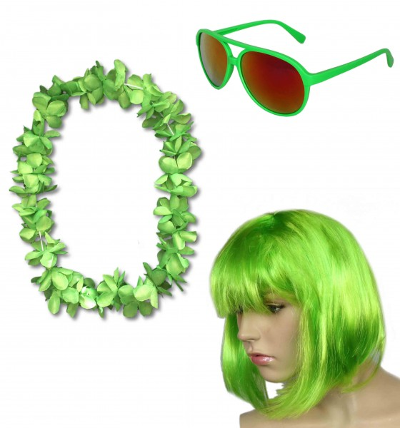 "Party SET ""Carneval"" Hawaiian Chain Short Hair Wig Sunglasses Costume Party"