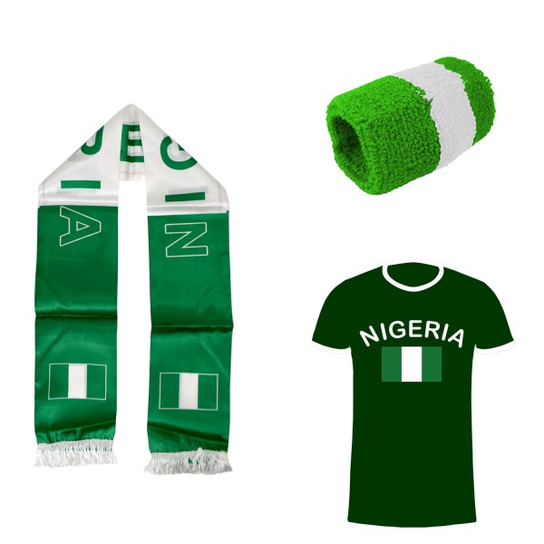 "Fan Package ""Nigeria"" Worldcup Football Scarf Shirt Sweatband SET-7"