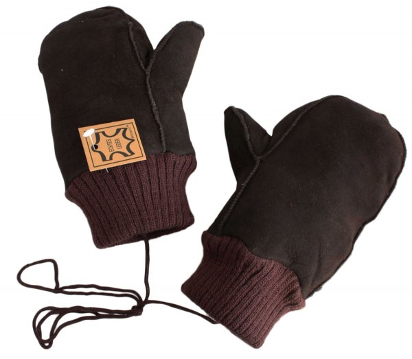 Kids Mitten Lambfur Knit Gloves