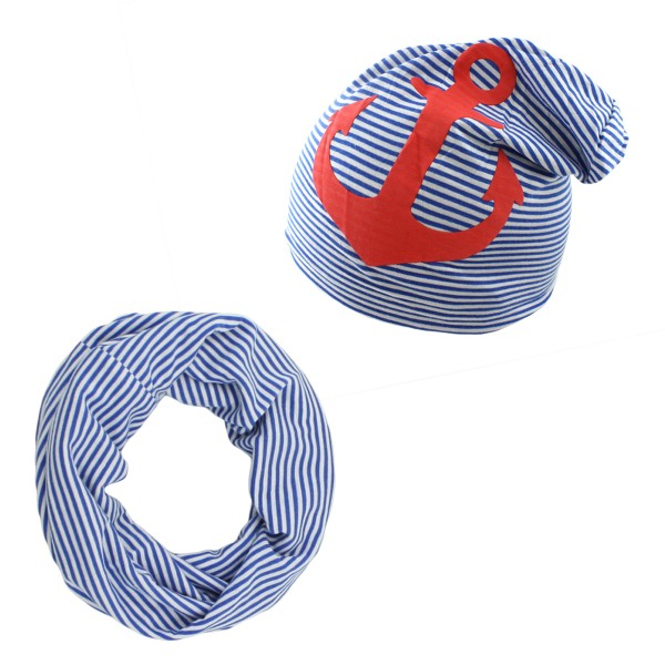 """SET Baby Loop and Beanie """"Anchor"""" Stripes Summer"""