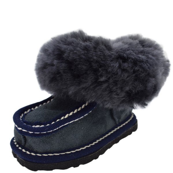 "Baby Indoor Slipper ""Antarktis"" Real Sheep Skin Leather Lamb Fur Sole"