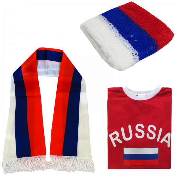 "Fan-Paket-7 ""Russland"" WM Fußball Fan Shirt Schal Schweißband Party"
