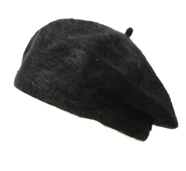 Beret Hat Angora Wool Women Winter black