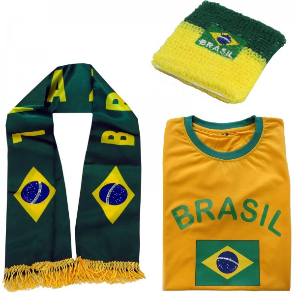 "Fan Package ""Brasil"" Worldcup Football Scarf Shirt Sweatband SET-7"