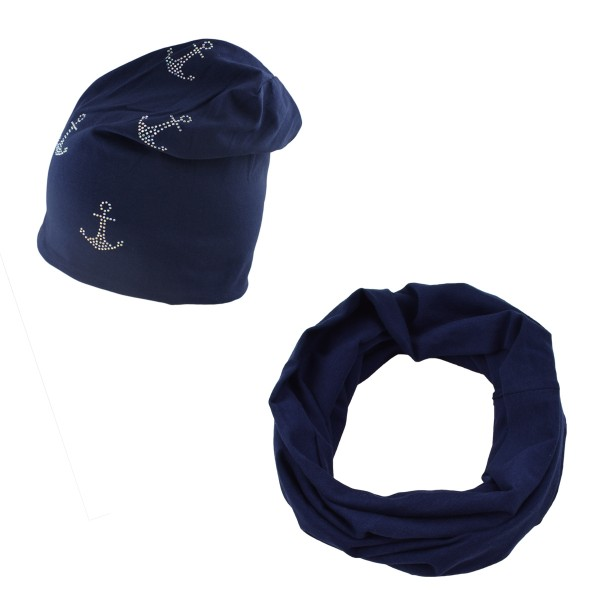 "SET Loop and Beanie ""Mini Anchor Rhinestones"" Summer Cotton"