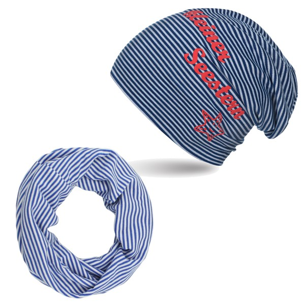 "SET Baby Kids Beanie and Loop ""Little sea star"" Maritime Stripes"