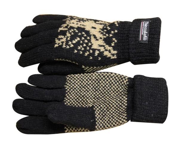 Strickhandschuhe Finger Umschlag Elch Wolle Fleece Winter Unisex