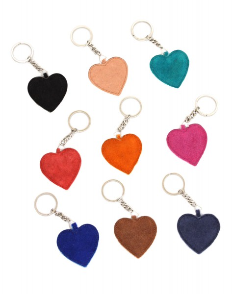 "Key Chain ""Heart"" Keyring Leather"