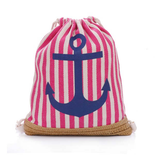 "Daypack ""Anchor and Bast"" Maritime Stripes Beach Backpack"