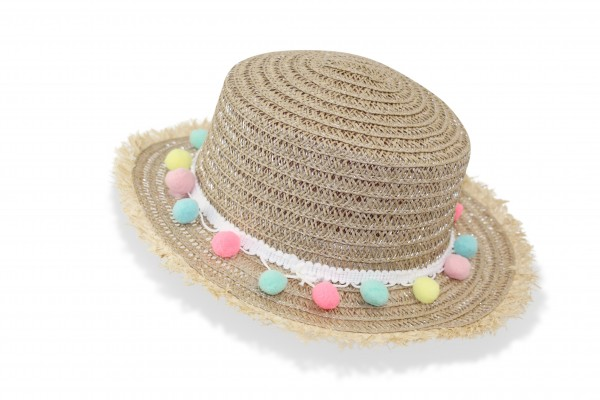 "Kids Straw Hat ""Pompom"" Summer Hat Beach Fringe Protection"