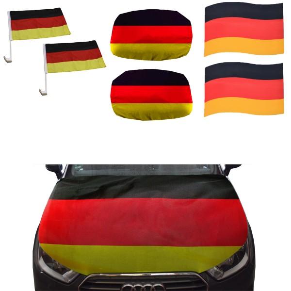 "Fan-Package ""Car"" Worldcup Countries Football Flags Magnet Mirror Bonnet SET-10-XXL"