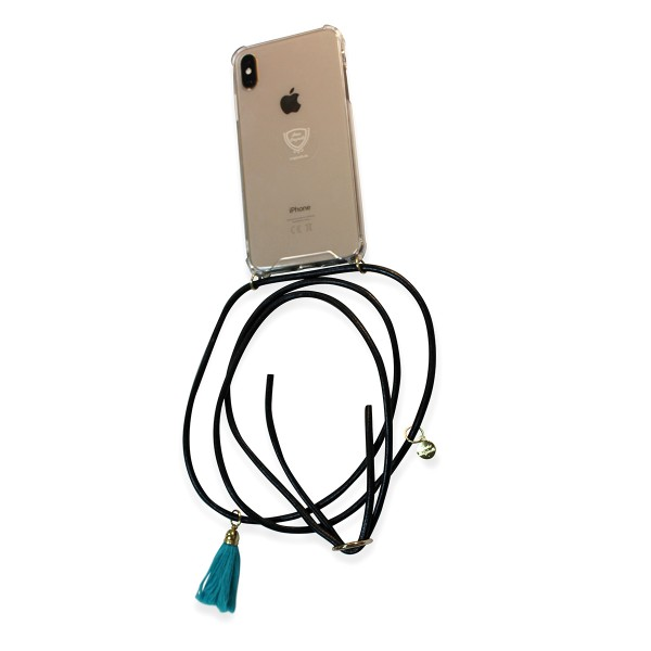 Mobile necklace leather black for Iphone with tassles Necklace Smartphone Chain