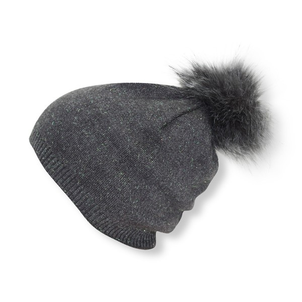 Kids Winter Beanie Hat Glittering Fiber Faux Fur Pompom